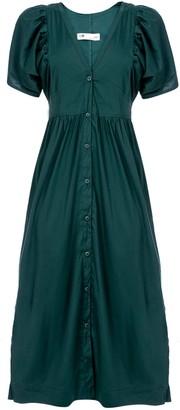 Naftul Oasis Button Down Maxi Dress, Green.