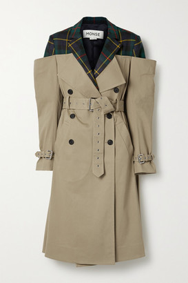 Monse Deconstructed Checked Wool-twill And Cotton-blend Gabardine Trench Coat - Beige