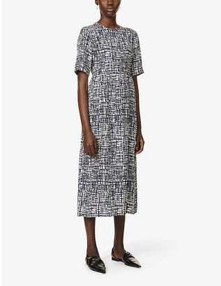 S Max Mara Eritrea graphic-print silk-crepe midi dress