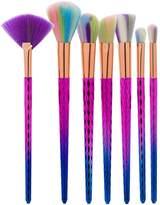 Redcolourful Blush Brush Colourful Scalelike Brush Handle and Colourful Brush Hair Makeup Brush Set 7 Pcs