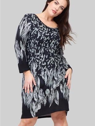 M&Co Izabel Curve leaf print knitted dress