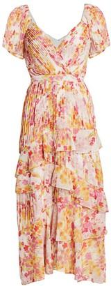 ML Monique Lhuillier Chiffon Floral Midi Dress