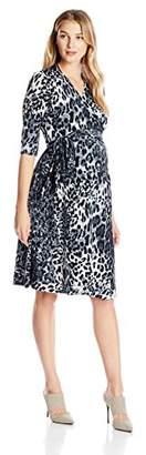 Everly Grey Women's Maternity Kaitlyn Maternity & Nursing 3/4 Sleeve Wrap Dress
