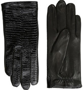 The Kooples Lizard Embossed Patent Leather Gloves