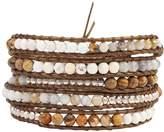 Chan Luu Matte Picture Jasper Mix Semi Precious Stones on a Brown Leather Wrap Bracelet