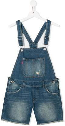 Levi's TEEN distressed denim overalls