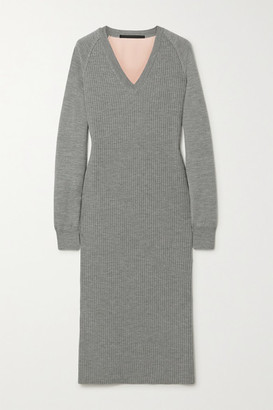 Haider Ackermann Ribbed Wool And Silk-satin Midi Dress - Gray