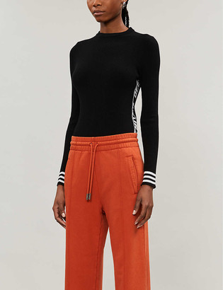 Off-White Industrial brand-panel scoop-neck knitted jumper
