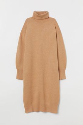 H&M Knit Turtleneck Dress - Beige