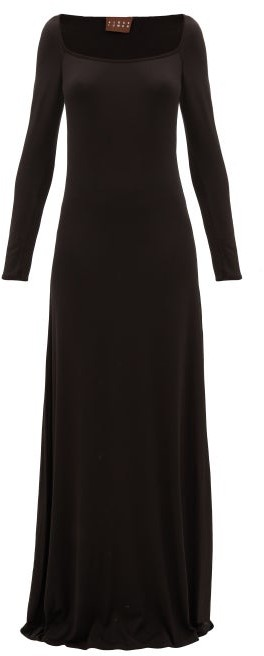 ALBUS LUMEN Longe Square-neck Stretch-jersey Maxi Dress - Black