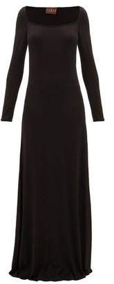 ALBUS LUMEN Longe Square-neck Stretch-jersey Maxi Dress - Womens - Black