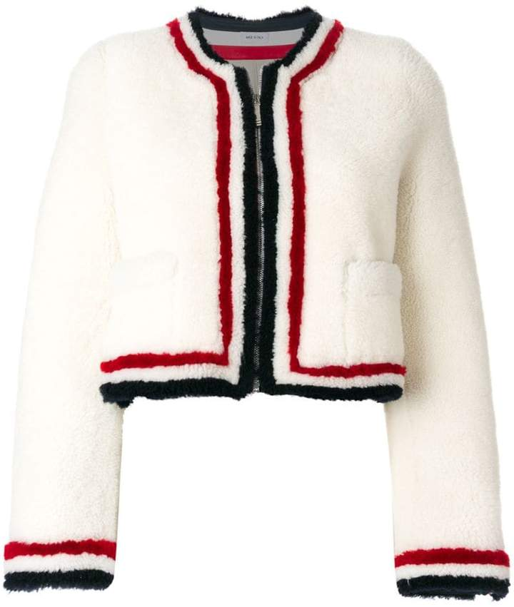 Thom Browne Zip Up Cardigan Jacket With Red, White And Blue Intarsia In Dyed Shearling