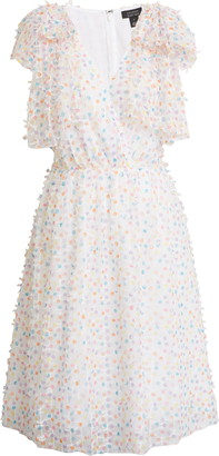 Halogen X Atlantic-Pacific Bow Shoulder Textured Dot Dress