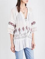 Free People Cotton-gauze peasant blouse