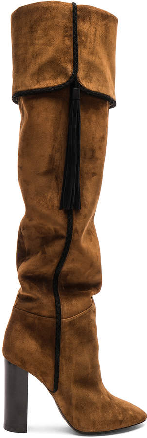4ca8cf4445e Suede Meurice Tassel Slouchy Boots in Caramel & Black | FWRD