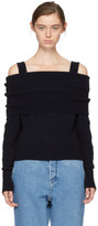 Cédric Charlier Black Wool Off-the-shoulder Sweater