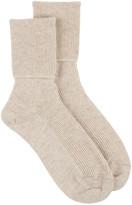 Johnstons of Elgin Ladies Ribbed Ankle Sock - Dark Medium