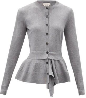 Alexander McQueen Draped-peplum Wool-blend Cardigan - Grey