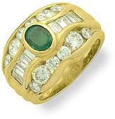 Tatitoto Superstar Women's Ring in 18k Gold with Emerald and Diamond H/SI (total diamonds 2.80 ct), Size 6.5, 15 Grams