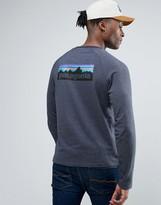 Patagonia Lightweight Sweatshirt P-6 Back Logo Slim Fit In Navy Marl
