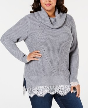 Belldini Black Label Plus Size Cowl-Neck Lace-Hem Sweater