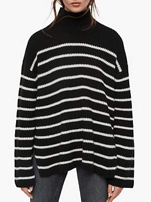 AllSaints Melody Striped Knit Jumper, Black/Porcelain White