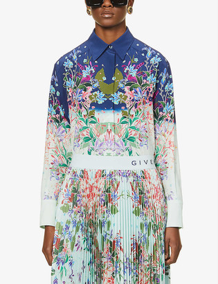 Givenchy Floral-print relaxed fit silk shirt