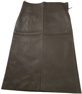 Brunello Cucinelli Anthracite Leather Skirt for Women