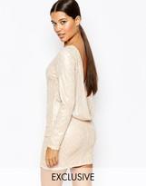 Club L Cowlback Sequin Mini Dress