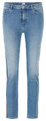 BOSS Regular-fit jeans in comfort-stretch mid-blue denim