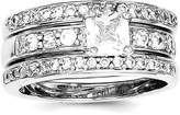 ICE CARATS 925 Sterling Silver Cubic Zirconia Cz 3 Piece Wedding Set Band Ring Engagement