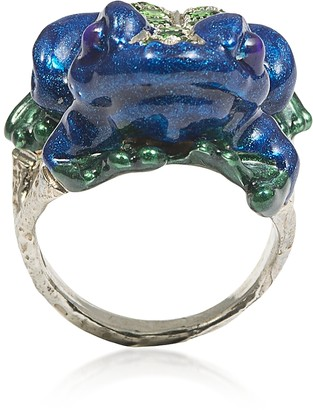 Bernard Delettrez Silver Froggy Ring w/ Pave Tsavorites And Blue Enamel