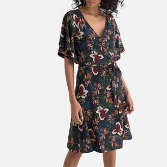 La Redoute Collections Floral Print Wrapover Tie-Waist Dress
