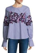 Tanya Taylor Marcie Embroidered Menswear Stripe Cotton Shirt