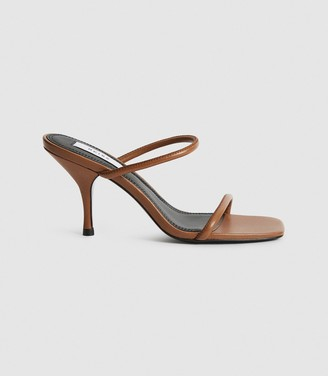 Reiss Magda - Leather Strappy Heeled Sandals in Tan