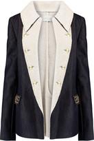Pierre Balmain Embellished faux shearling-lined denim jacket