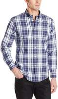 Dockers Long Sleeve Button Down Collar Cotton Chambray Multi Plaid Shirt