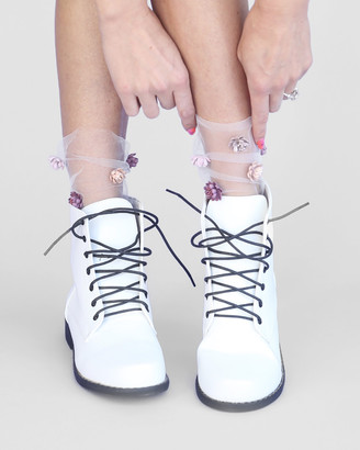 High Heel Jungle - Women's White Socks - Never Settle Petal Tulle Sock - Size One Size, One size at The Iconic