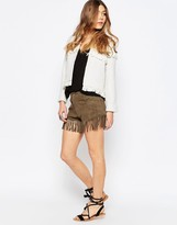 Liquorish Fringed Suede Shorts