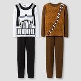 Star Wars Boys' 4 Piece Storm Trooper & Chewbacca Pajama Set - Brown