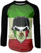 Yang Fan Mexican Skull Bandana Men's Athletic Long Sleeve Crew Neck T Shirt