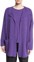 eskandar Chevron-Design Cashmere Cardigan, Lavender