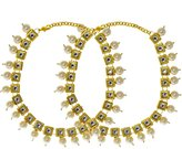 Bamboo Indian Traditional Kundan Payal Gold Tone Anklet Bridal Jewerly With Pearl Beads