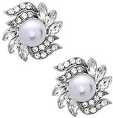 Nina Women's Crystal & Faux Pearl Floral Stud Earrings