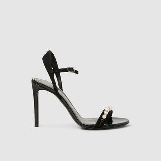 Lanvin Black Pearl Embellished Suede High Heel Sandals Size FR 40