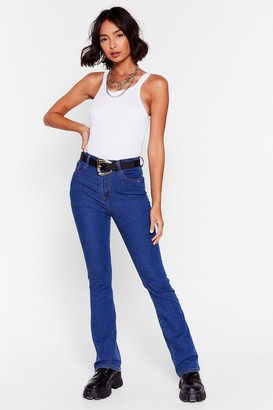 Nasty Gal Womens Get Flare Now Mid-Rise Skinny Jeans - Blue - 8