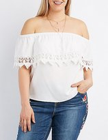 Charlotte Russe Plus Size Crochet-Trim Off-The-Shoulder Top