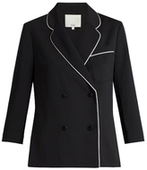 Tibi Contrast-seam double-breasted blazer