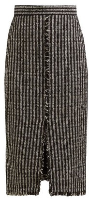 Alexander McQueen Fringed Tweed Pencil Skirt - Black White