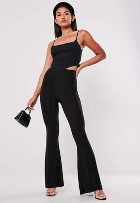 Missguided Black Slinky Flare Leg Trousers